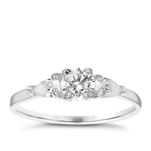 Sterling Silver Cubic Zirconia Three Stone Ring Size N - Product number 3994864