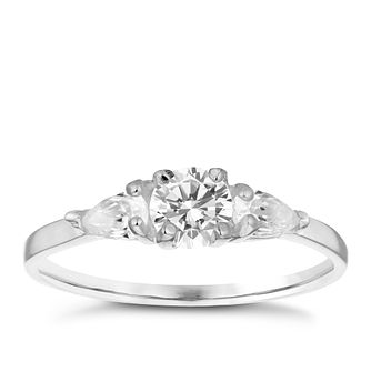 Sterling Silver Cubic Zirconia Three Stone Ring Size P - Product number 3994872