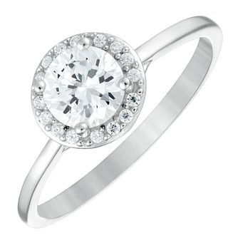 Sterling Silver Cubic Zirconia Halo Ring Size N - Product number 3994902