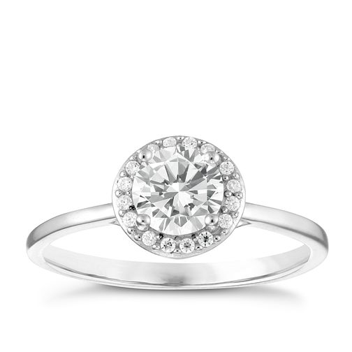 Sterling Silver Cubic Zirconia Halo Ring Size P - Product number 3994910