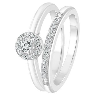 9ct White Gold 1/5ct Diamond Perfect Fit Bridal Set - Product number 3998665