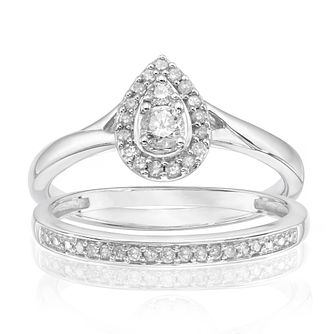 Perfect Fit 9ct White Gold 1/4ct Diamond Pave Bridal Set - Product number 3999181