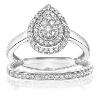 Perfect Fit 9ct White Gold 0.33ct Total Diamond Bridal Set - Product number 4000773