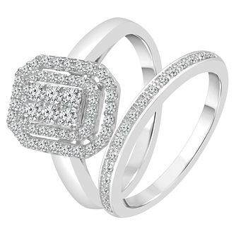 Perfect Fit 9ct White Gold 2/5ct Diamond Double Halo Set - Product number 4001516