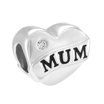 Chamilia Mum Heart Banner Sterling Silver & Diamond Bead - Product number 4002334
