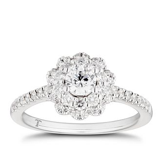 Tolkowsky 18ct White Gold 3/4ct Diamond Flower Halo Ring - Product number 4005988