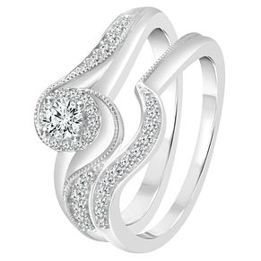 9ct White Gold 1/3ct Diamond Perfect Fit Bridal Set - Product number 4006194