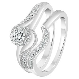 Perfect Fit 9ct White Gold 1/3ct Diamond Twist Bridal Set - Product number 4006194