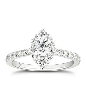 Tolkowsky 18ct White Gold 3/4ct Diamond Marquise Halo Ring - Product number 4006275