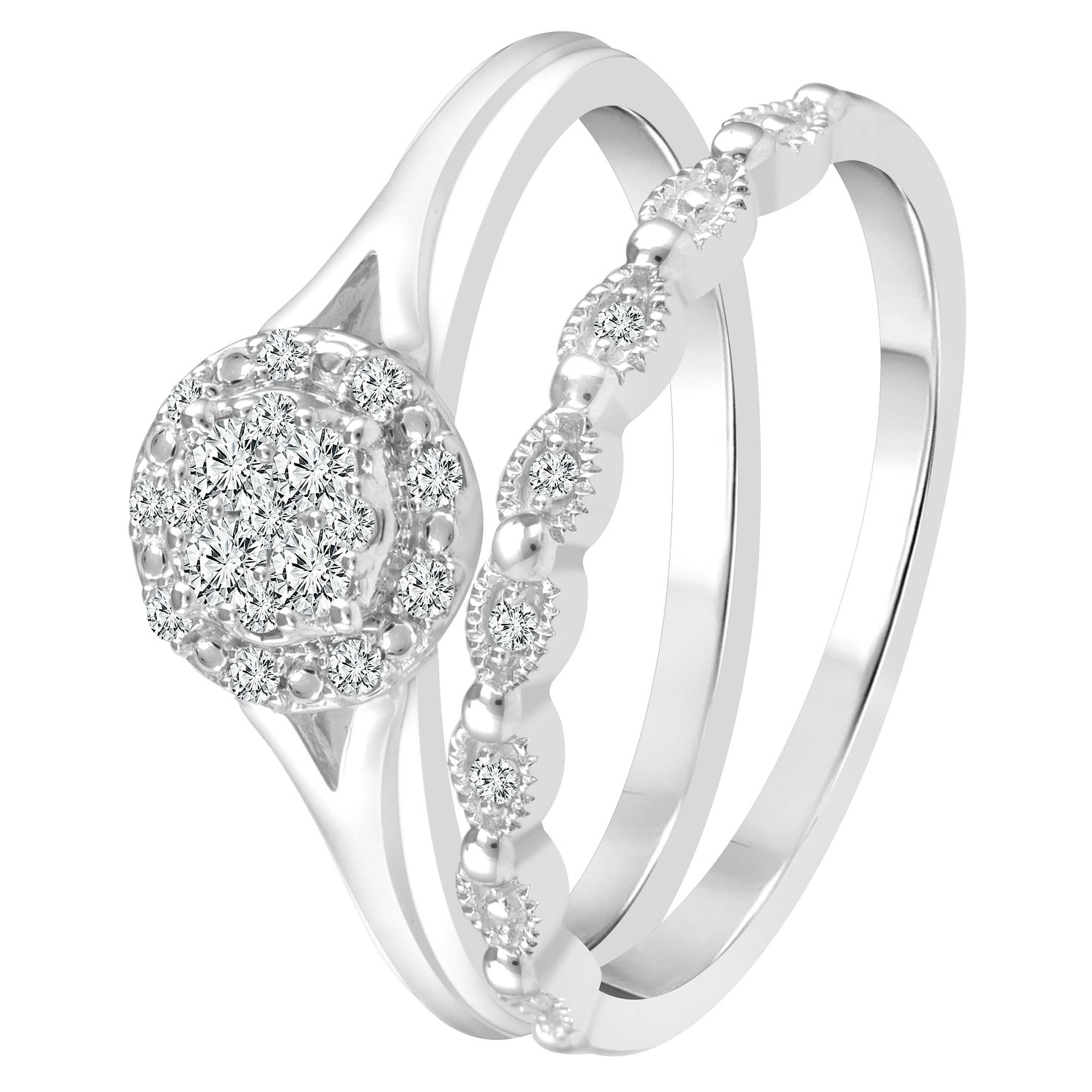 Perfect Fit 9ct White Gold 0.15ct Total Diamond Bridal Set - Product number 4008650
