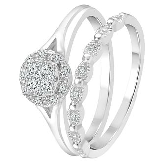 Perfect Fit 9ct White Gold 0.15ct Diamond Cluster Bridal Set - Product number 4008650