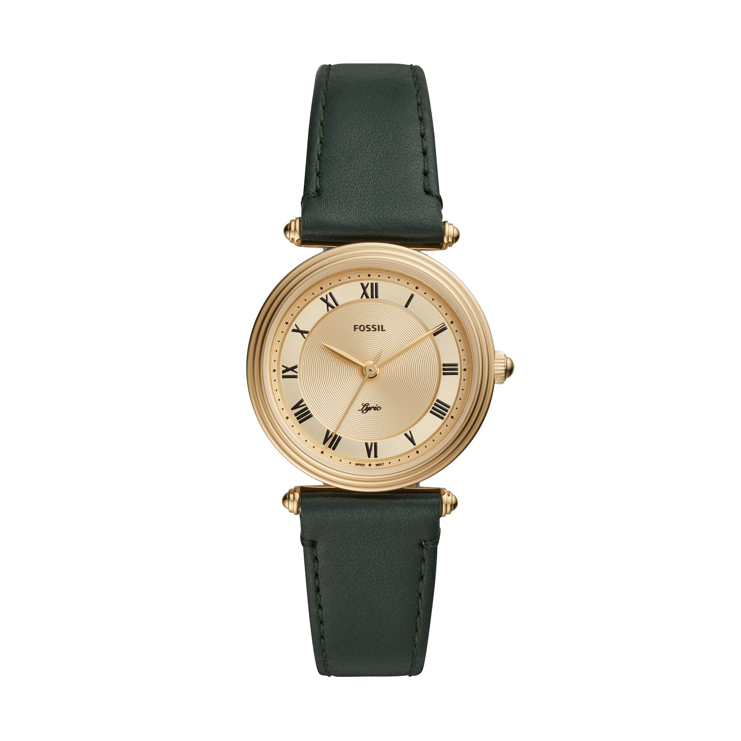 Fossil Ladies' Gold Tone Green Leather Strap Watch - Product number 4010892