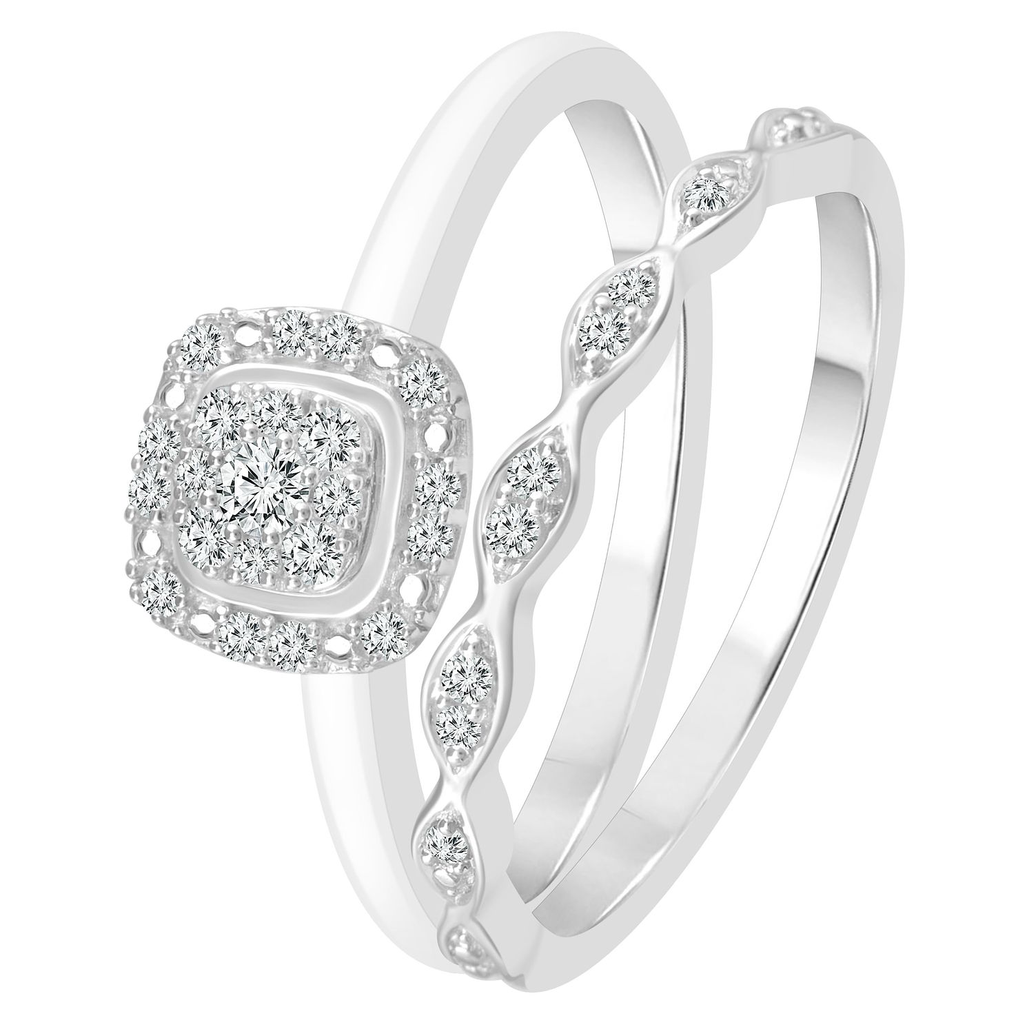 Perfect Fit 9ct White Gold 0.15ct Diamond Bridal Set - Product number 4010930