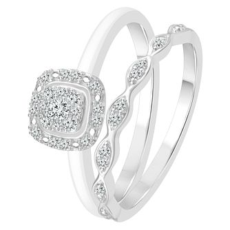 9ct White Gold 0.15ct Diamond Perfect Fit Bridal Set - Product number 4010930