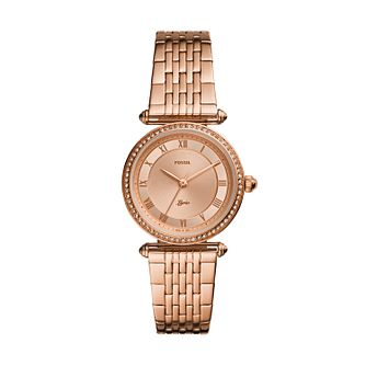 Fossil Ladies' Rose Gold Tone Stainless Steel Bracelet Watch - Product number 4010965