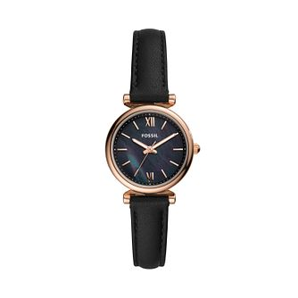 Fossil Ladies' Rose Gold Tone Black Leather Strap Watch - Product number 4011198