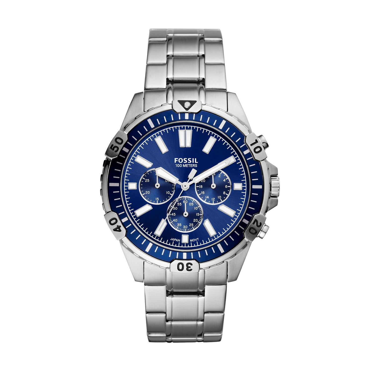Fossil Men's Blue Dial Stainless Steel Bracelet Watch - Product number 4011325
