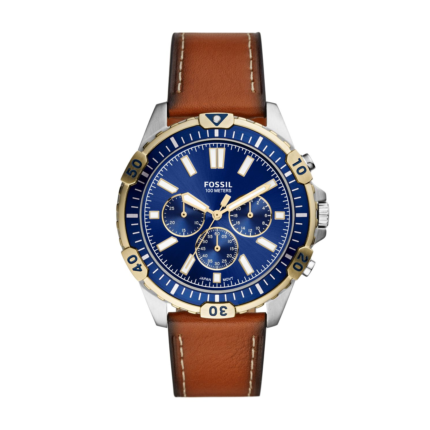 Fossil Men's Two Tone Blue Dial Brown Leather Strap Watch - Product number 4011333