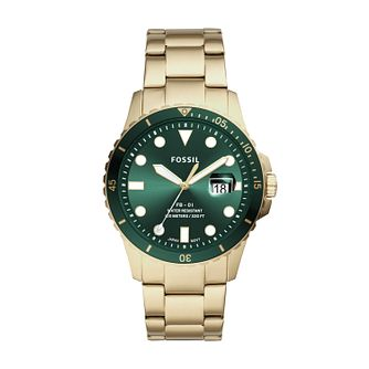 Fossil Men's Green Dial Gold Tone Bracelet Watch - Product number 4011384