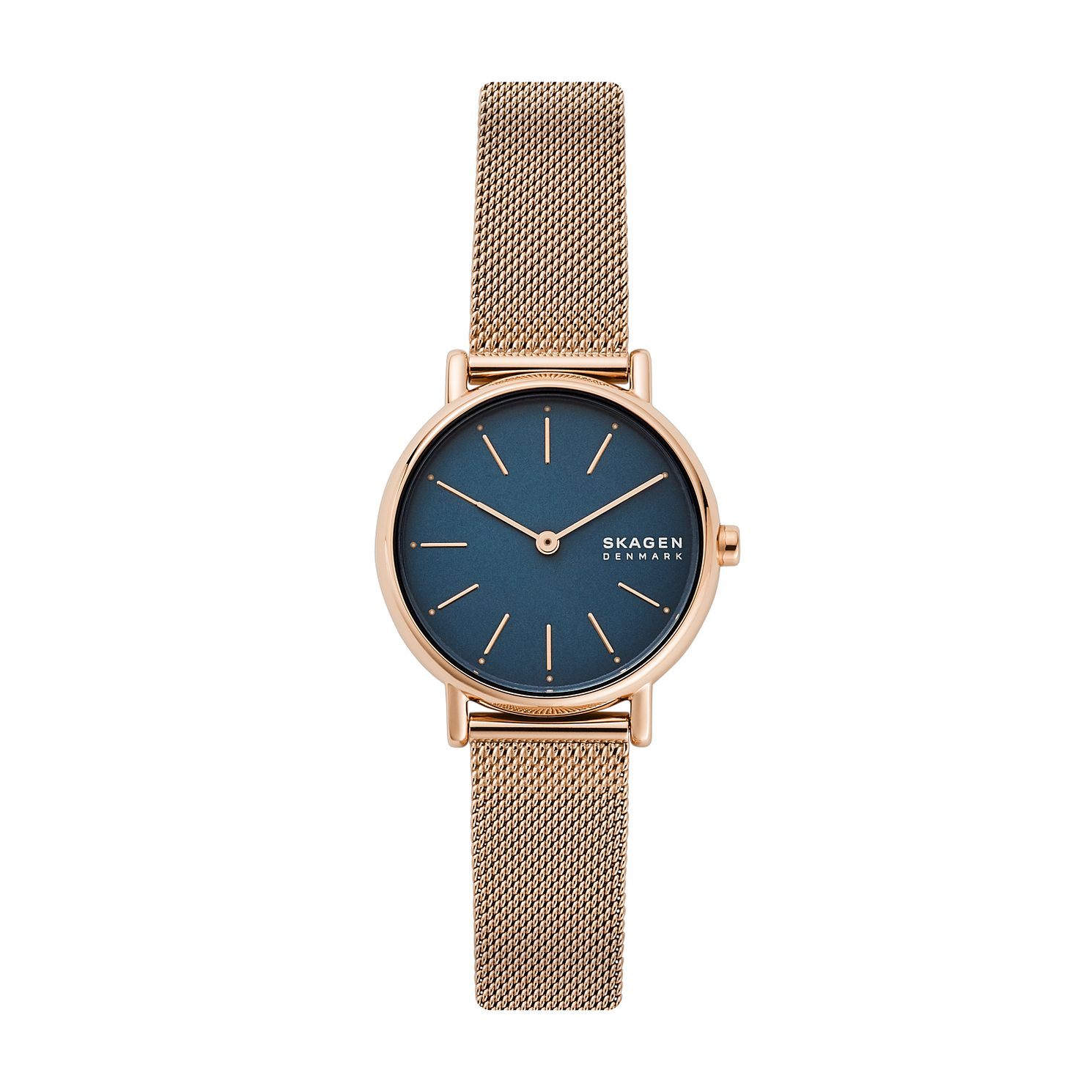 Skagen Ladies' Blue Dial Rose Gold Tone Mesh Bracelet Watch - Product number 4012011
