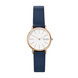 Skagen Ladies' White Dial Blue Leather Strap Watch - Product number 4012038