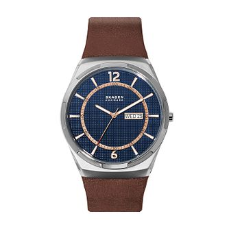 Skagen Melbye Men's Blue Dial Brown Leather Strap Watch - Product number 4012054