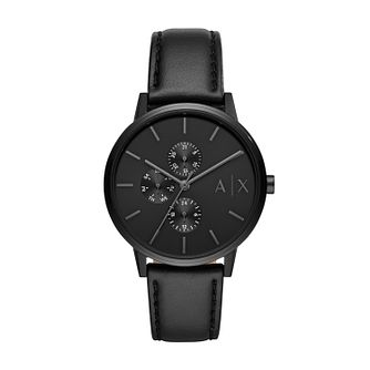 Armani Exchange Men's Black Dial Black Leather Strap Watch - Product number 4012143
