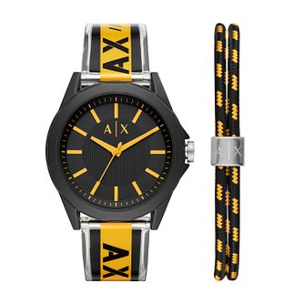 Armani Exchange Men's Black & Yellow Strap Watch & Bracelet - Product number 4012178