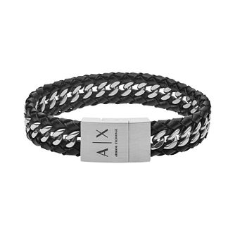 Armani Exchange Men's Black Leather Curb Chain Bracelet - Product number 4012208