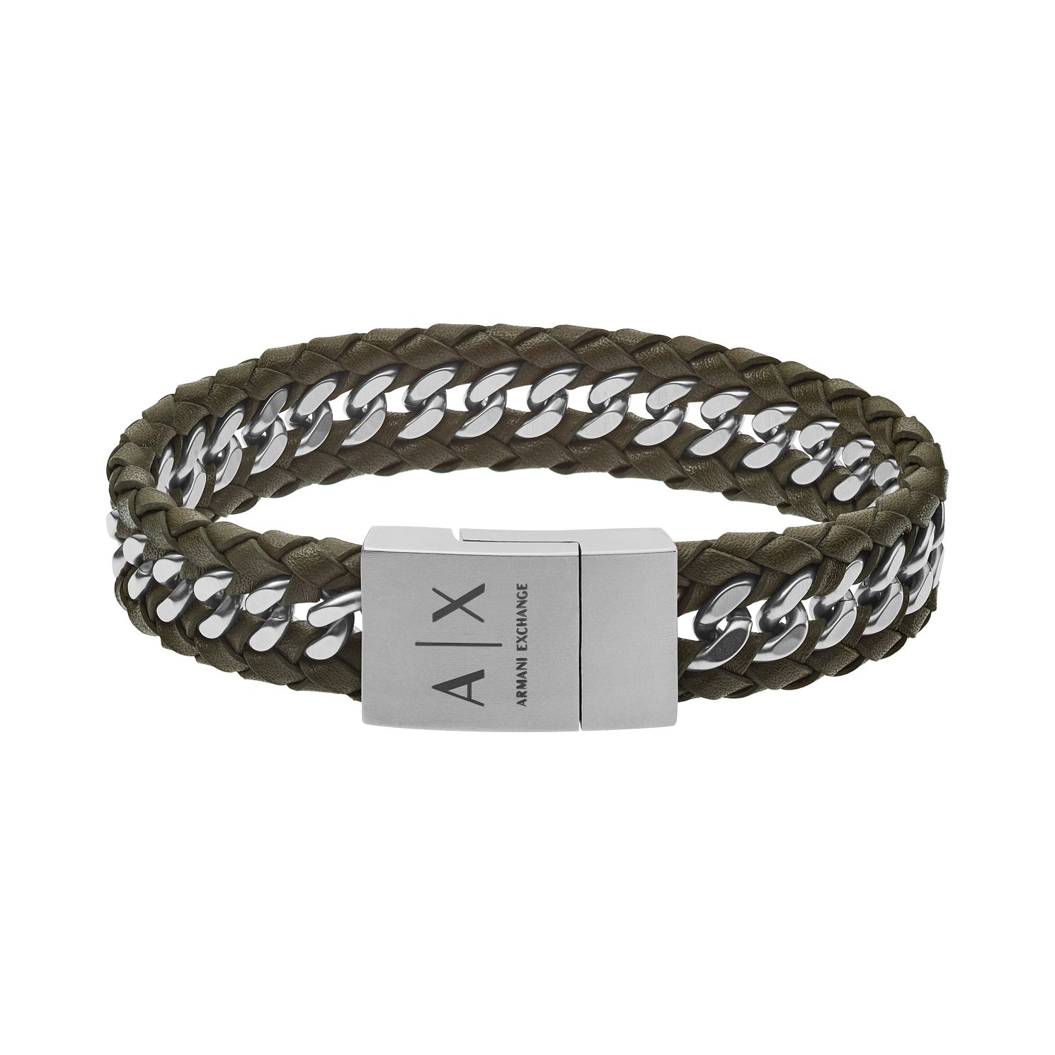 Armani Exchange Men's Green Leather Curb Chain Bracelet - Product number 4013581