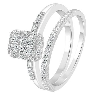 Perfect Fit 9ct White Gold 1/4ct Diamond Cluster Bridal Set - Product number 4014324