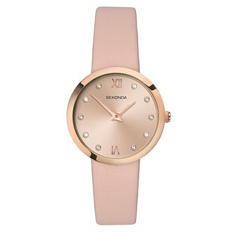 Sekonda Ladies' Pink Dial Pink Leather Strap Watch - Product number 4017609