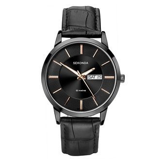 Sekonda Men's Black Dial Black Leather Strap Watch - Product number 4017617