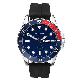 Sekonda Men's Blue Dial Black Rubber Strap Watch - Product number 4017641