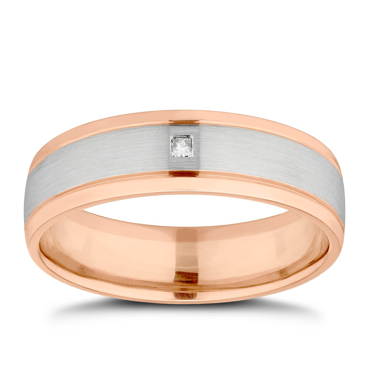 9ct White & Rose Gold Diamond Set 6mm Wedding Ring - Product number 4018087