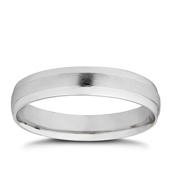18ct White Gold Matt & Polished 4mm Wedding Ring - Product number 4020065