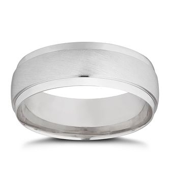 18ct White Gold Matt & Polished 7mm Wedding Ring - Product number 4021029