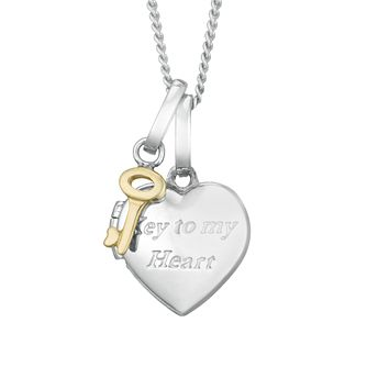 "Silver & 9ct Yellow Gold ""Key To My Heart"" Locket - Product number 4025547"