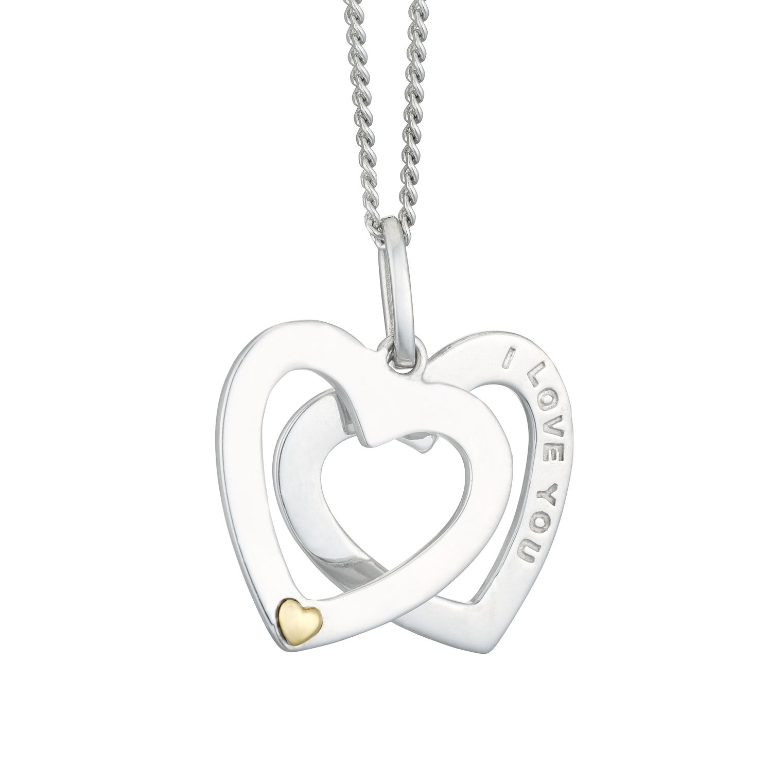 Silver & 9ct Gold Double Heart