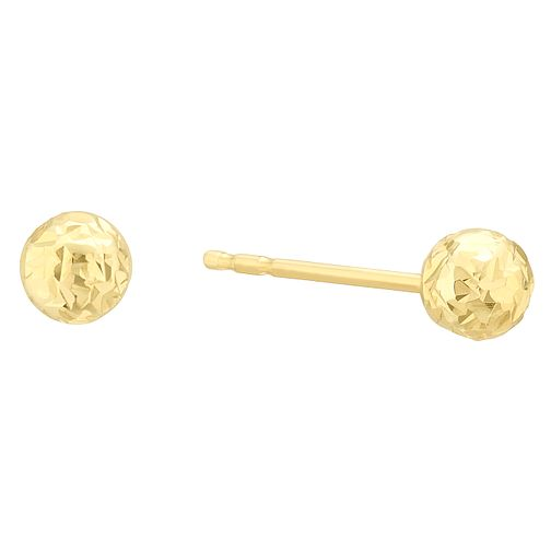 9ct Yellow Gold Diamond Cut 4mm Ball Stud Earrings - Product number 4025679