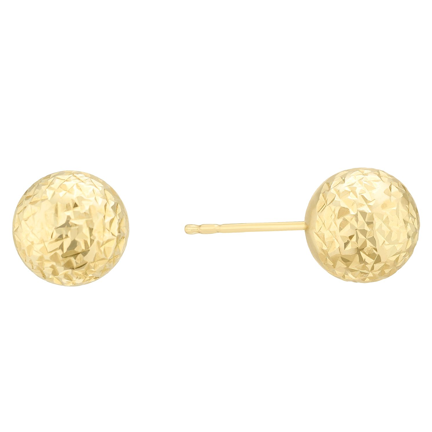 9ct Yellow Gold Diamond Cut 8mm Ball Stud Earrings - Product number 4025695