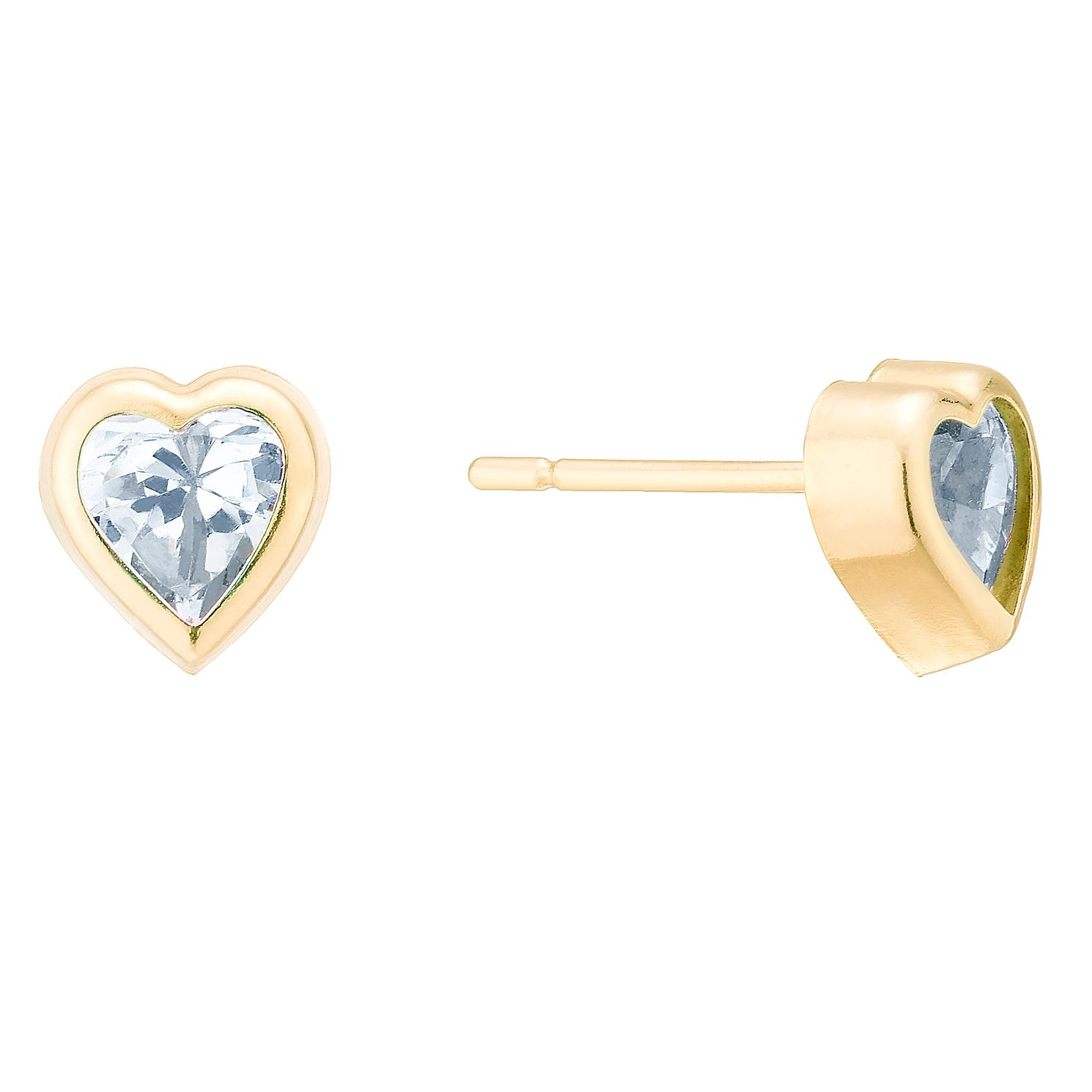 9ct Yellow Gold Cubic Zirconia Rubover Heart Studs - Product number 4025741