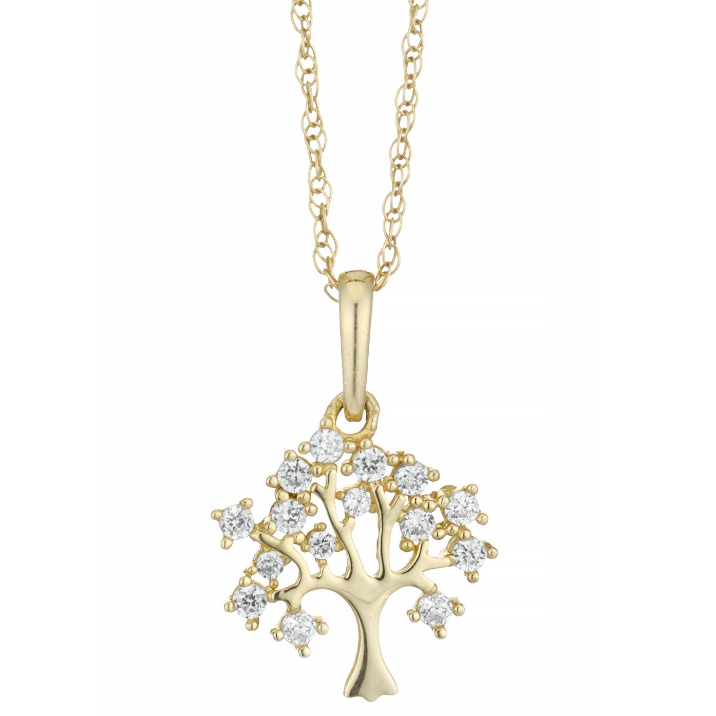 9ct Yellow Gold Cubic Zirconia Tree of Life Design Pendant - Product number 4026063