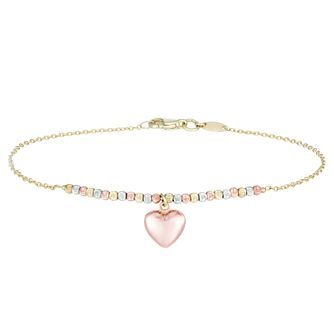 9ct Three Colour Gold Bead & Heart Bracelet - Product number 4026241