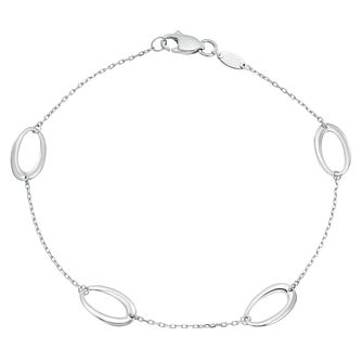 9ct White Gold Oval Station Bracelet - Product number 4026268