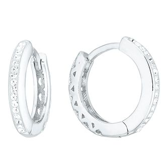 Evoke Silver Rhodium Plated Crystal 7mm Huggie Earrings - Product number 4026667