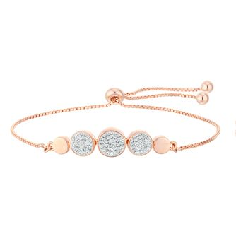 Evoke Silver & Rose Gold Plated Crystal Adjustable Bracelet - Product number 4026934