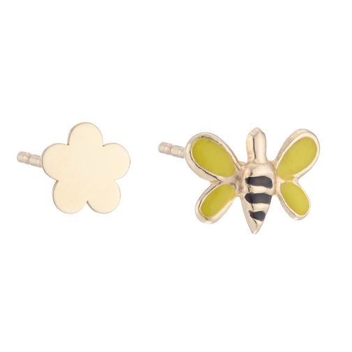 9ct Yellow Gold Flower & Bee Stud Earrings - Product number 4026985