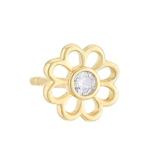 9ct Yellow Gold Cubic Zirconia Flower Single Stud Earring - Product number 4027043