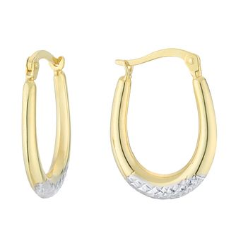 Silver & 9ct Yellow Gold Bonded Two Tone Creole Earrings - Product number 4028740